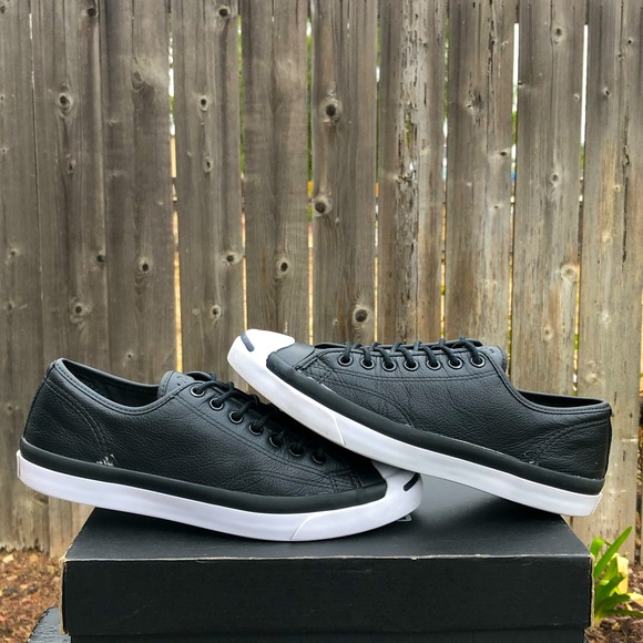 Converse Jack Purcell Black Leather Shoes